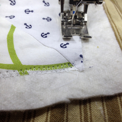 Secure quilt layers with zig zag stitching