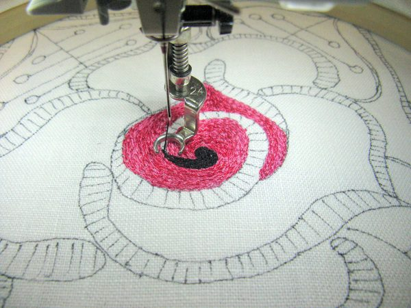Step 5 How to make a thread painted rose tile pillow