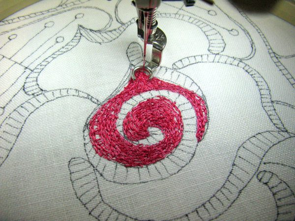 Step 4 how to make a thread painted rose tile pillow