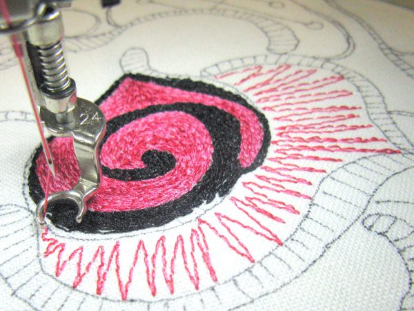 Step  6 How to make a thread painted rose tile pillow