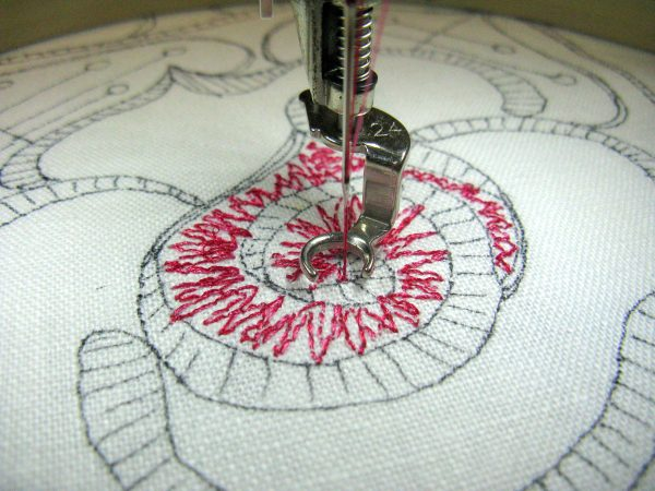 Step 3 add underlay stitches to create a thread painted rose