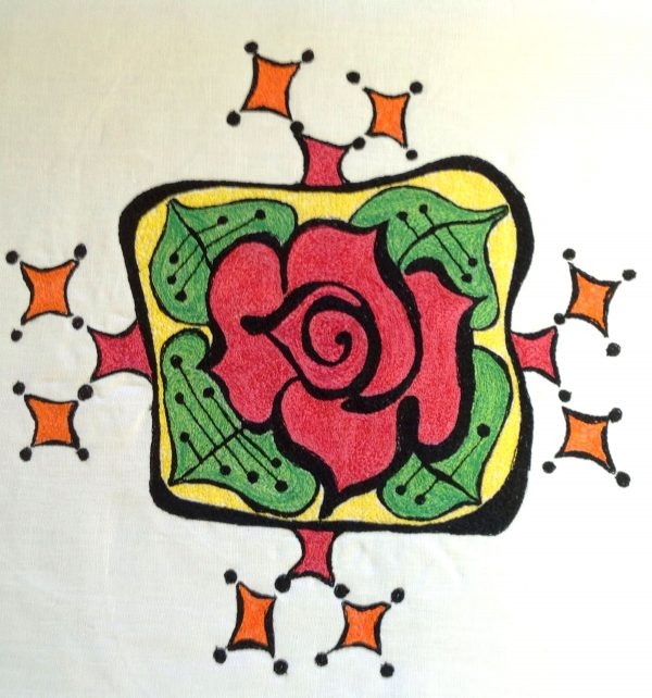 Finish pressing the completed thread painted rose tile pillow