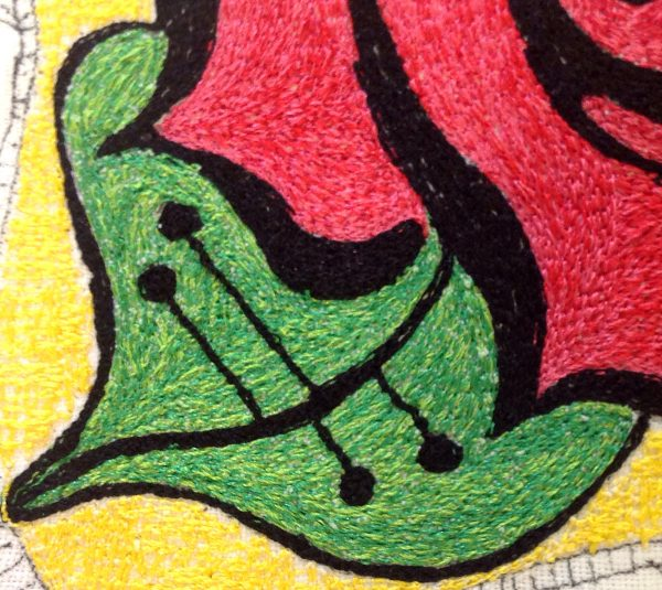 Step 7 How to make a thread painted rose tile pillow