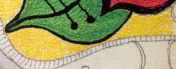 Add cross hatching to make a thread painted rose tile pillow