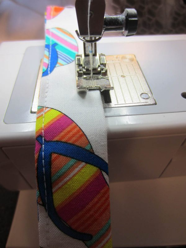 Swim Wetbag Sewing Tutorial - Top stitch close to both finished, long edges.