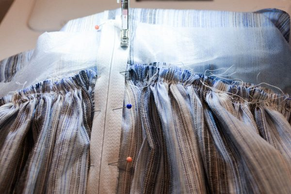 Midi Skirt Tutorial - baste the zipper in place