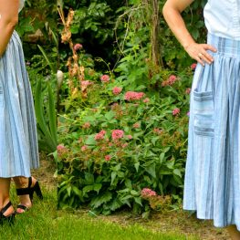 Midi Skirt with Patchwork Pockets