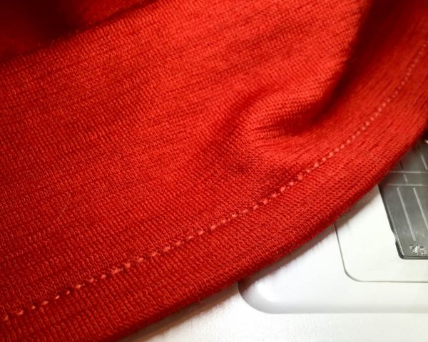 Tip for sewing stretchy, stable hems on knits - finished hem with stretch thread