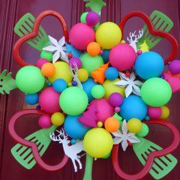 Holiday Preparation - Colorful Door Wreath