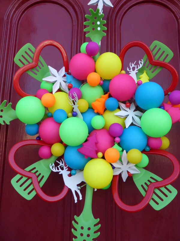 Holiday Preparation - Colorful Door Wreath