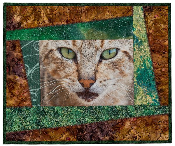 Wild Kitty Portrait Quilt by Kerby Smith