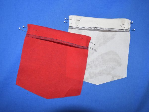 Patch Pocket Tutorial - pulling the raw edge of the facing