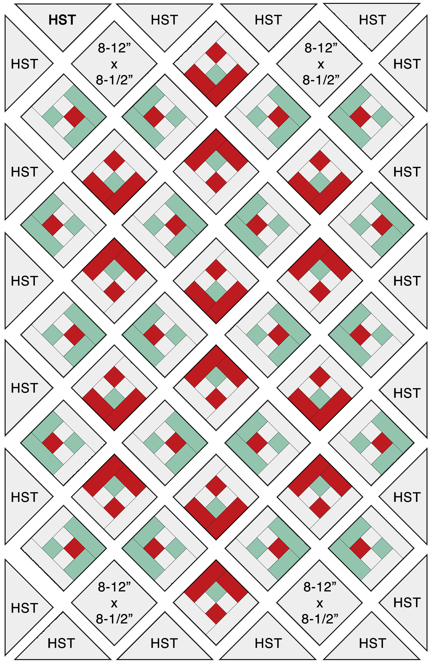 Snowflake Quilt Assembly Diagram Step 1