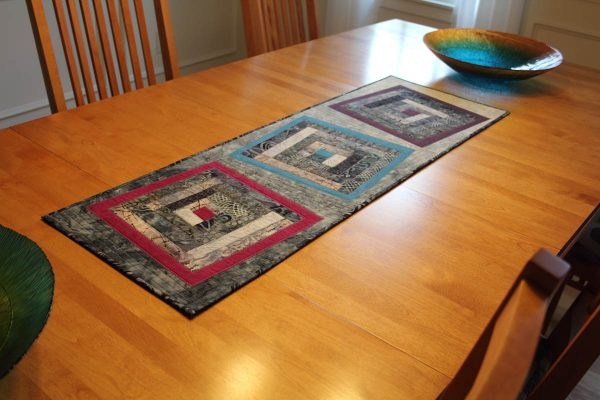 Fused Log Cabin Table Runner Tutorial - finished table runner