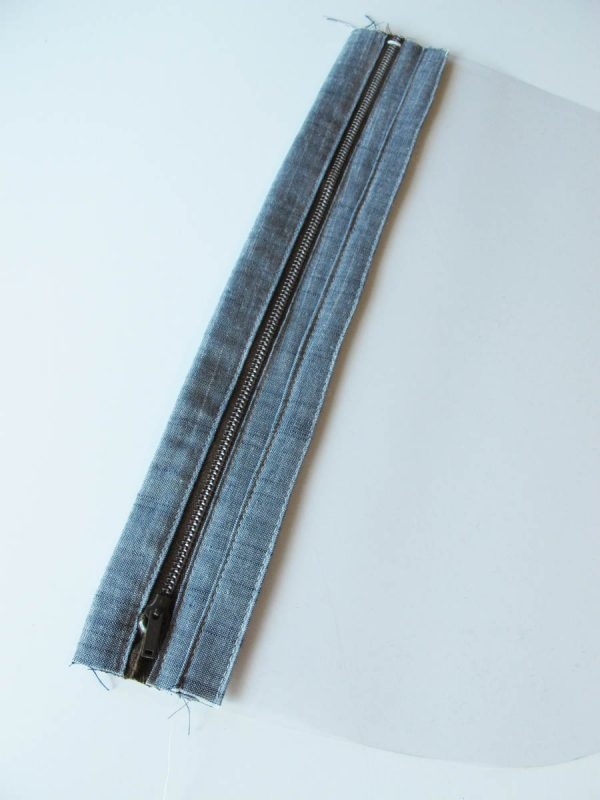 Vinyl Zip Pouch Tutorial - Topstitch along folded edge of vinyl binding