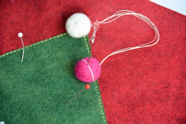 Christmas Tree Pillow Tutorial - attach pom pom
