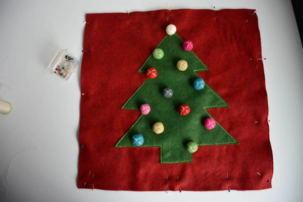 Christmas Tree Pillow Tutorial - Lay the pillow front on top of the pillow back, wrong sides together and pin
