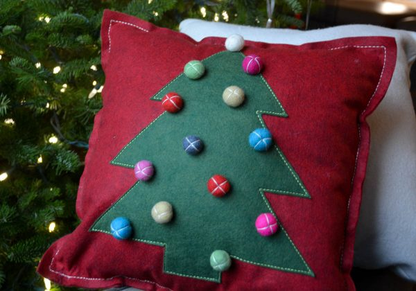 Christmas Tree Pillow Tutorial - Stuff the pillow and stitch the opening closed