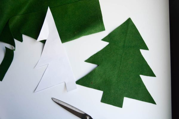 Christmas Tree Pillow Tutorial - Place the tree shape on the fold of your green felt