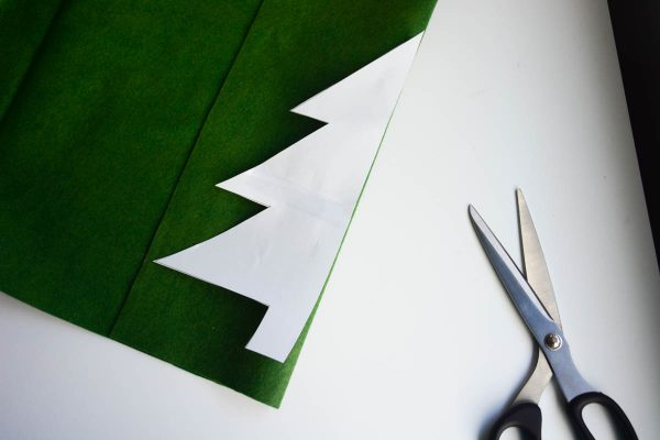 Christmas Tree Pillow Tutorial - Trim and tape together the pattern