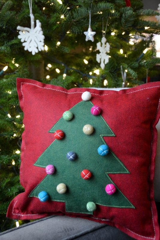 Christmas Tree Pillow Tutorial - Christmas Tree Pillow Tutorial - Stuff the pillow and stitch the opening closed