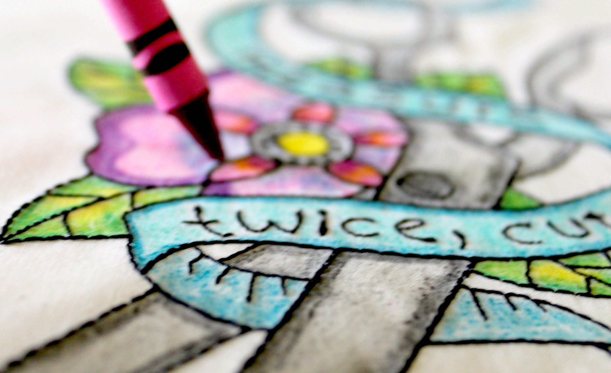 Machine Embroidery And Coloring With Crayons