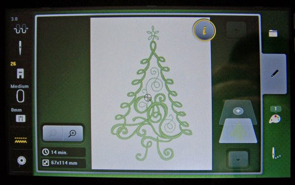 Embroidered Christmas Tree Card - stitch selection