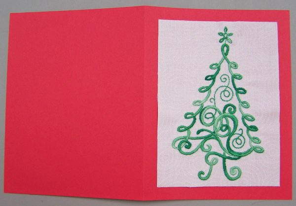 Embroidered Christmas Tree Card - fold card in half