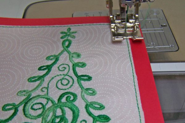 Embroidered Christmas Tree Card - topstitch around the outer edges of the stitched design