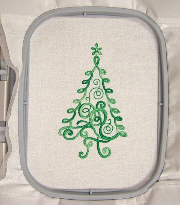 Embroidered Christmas Tree Card - tree embroidery