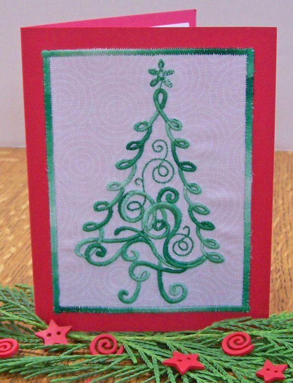 Embroidered Christmas Tree Card