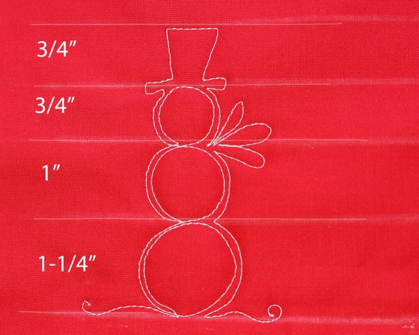 Free-Motion Snowman - spacing indicated