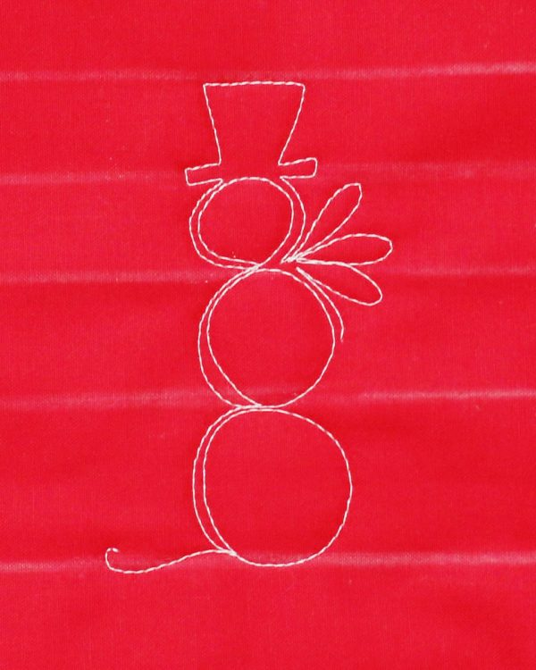Free-Motion Snowman - stitching the scarf