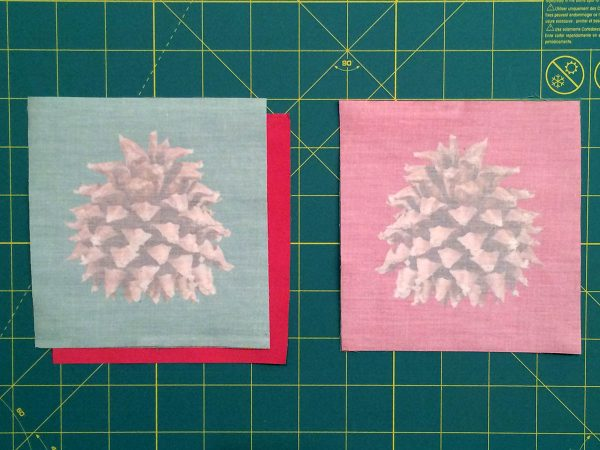 Holiday Coasters Tutorial - Face Fabric Images Together