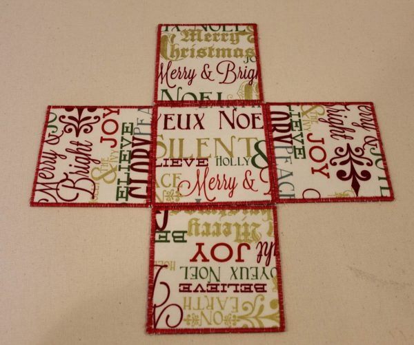 Holiday Fabric Boxes - laying out the four pieces