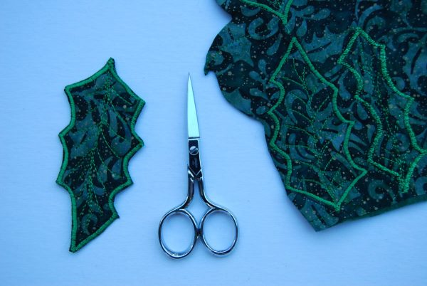 Holly Leaf Ornament - cut out each leaf by trimming close to the stitching lines
