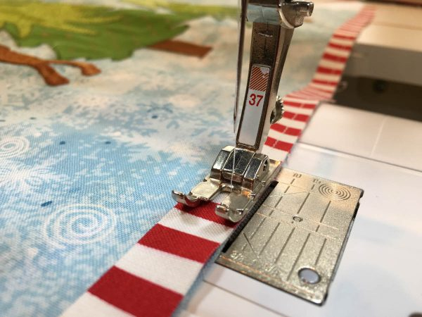 Mantel Cover Tutorial - stitch striped flange