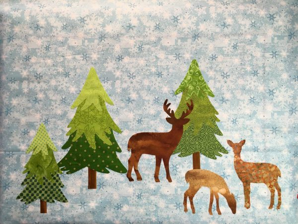 Mantel Cover Tutorial - Mantel Cover Tutorial - add the trees and deer to each end of your background fabric