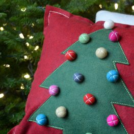 Pom Pom Tree Felt Pillow