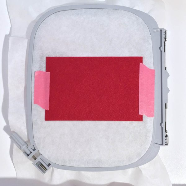 Santa Pants Gift Card Holder Tutorial - Place the final piece of red felt over the outer placement line