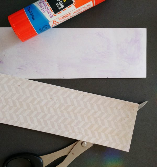 Travel Kit Tutorial - gluing two pieces of scrapbook paper together