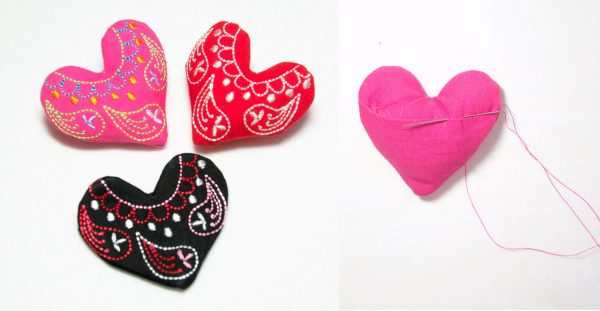 Embroidered Heart Pin