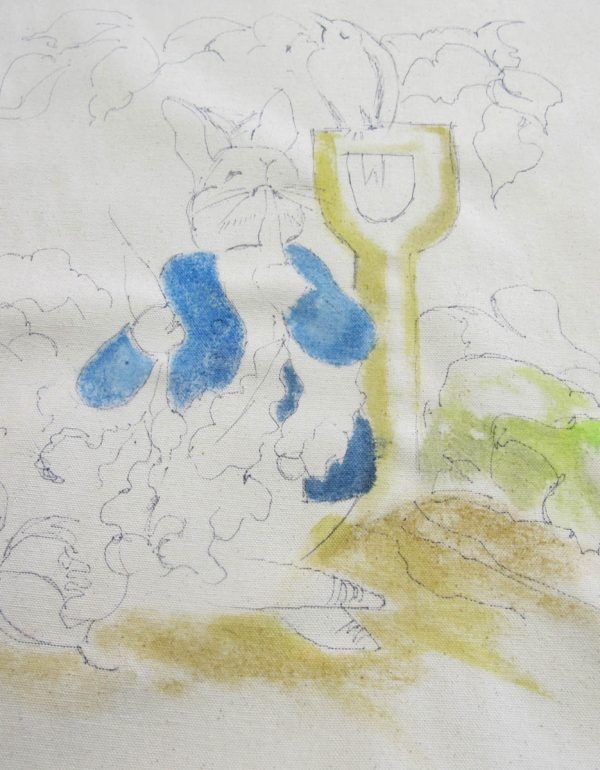 Peter Rabbit Wall Hanging - painting step 2
