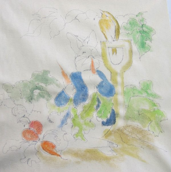 Peter Rabbit Wall Hanging - painting step 3