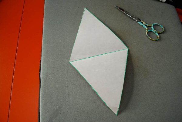 String of Pennants - cutting the lozenge shape