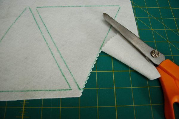 String of Pennants - cutting out the triangles