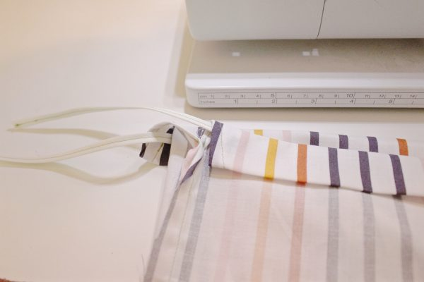 DIY 10-minute shoe bags step eight: insert bias tape