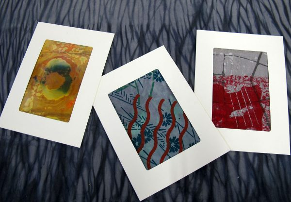 Fabric collage note cards