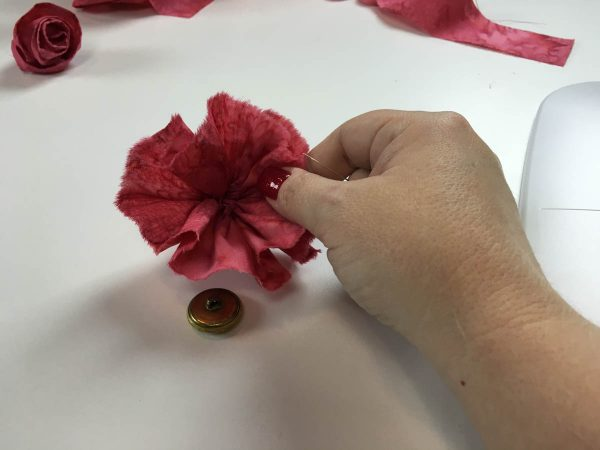 Flower Embellishing with the Gathering Foot - decorative button