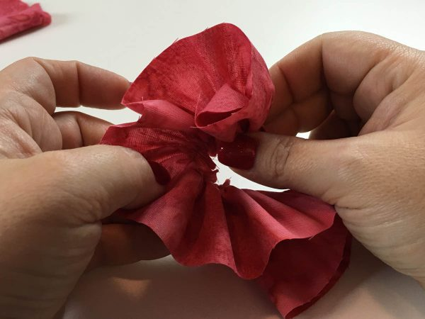 Flower Embellishing with the Gathering Foot - Begin rolling the gathered edge